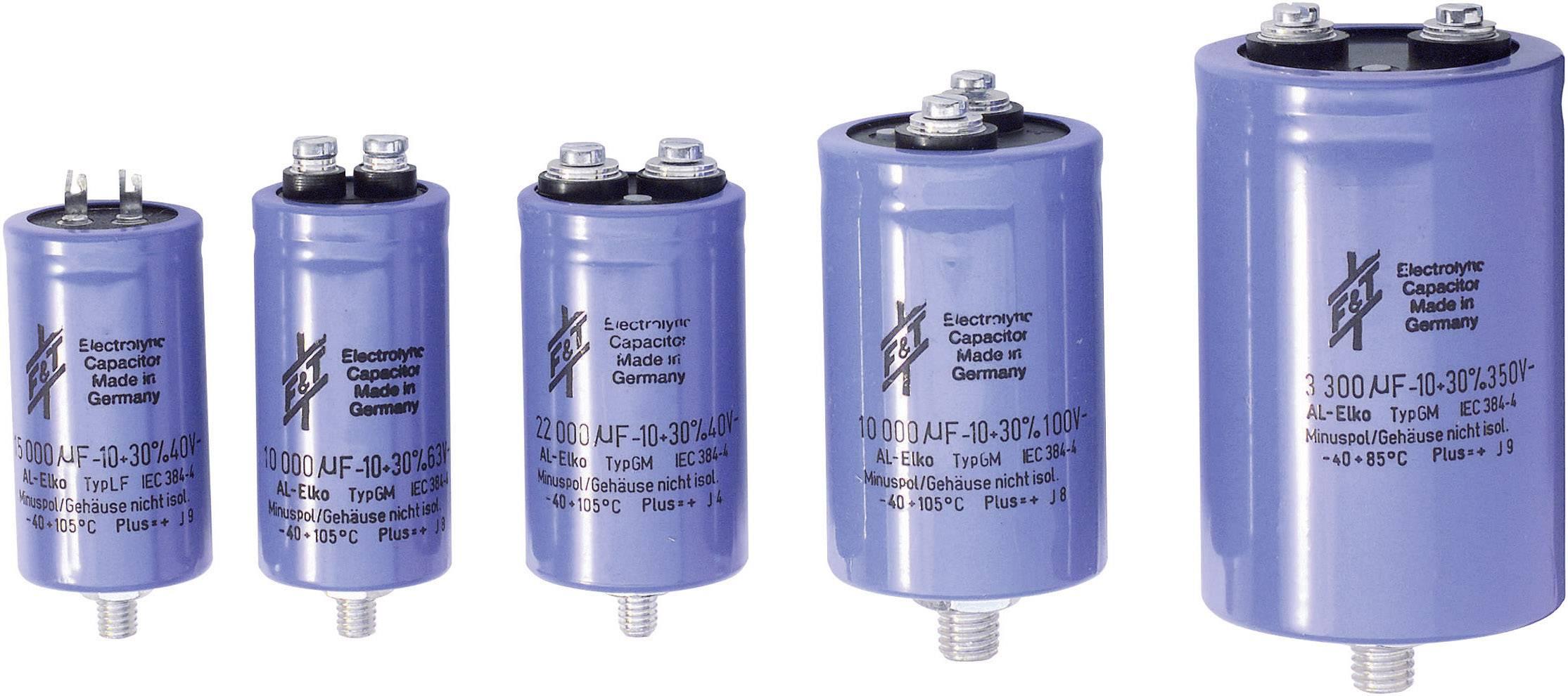 Elektrolytický kondenzátor FTCAP GMB22306350080, skrutkový kontaktný prvok, 22000 µF, 63 V, 20 %, 1 ks
