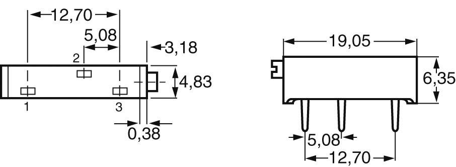 Vretenový trimer Vishay 0122 1 W 10R, lineárny, 10 Ohm, 0.75 W, 1 ks