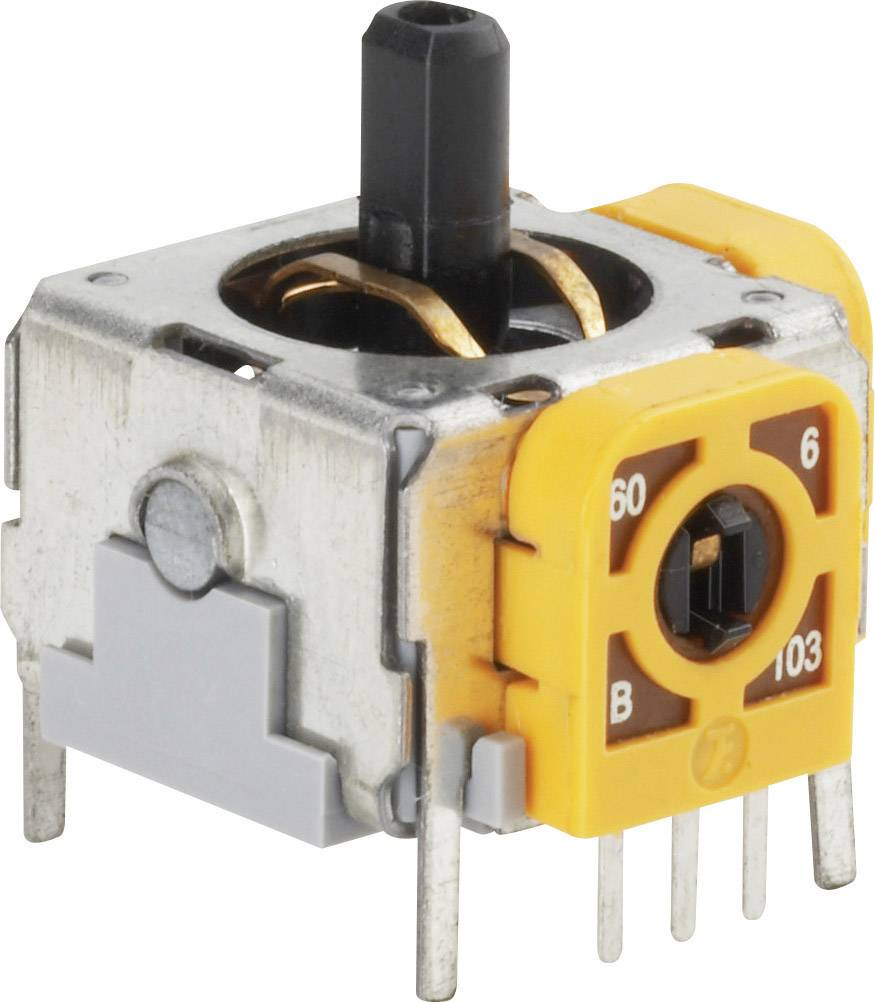 3D joystick so spínačom 98002C3, spájkovacie piny, 12 V/DC, 1 ks