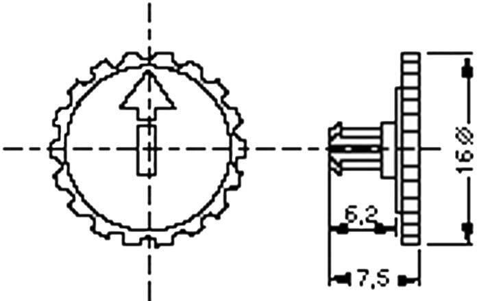 Ryhovaný gombík pre PT 15 N