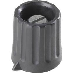 Otočný knoflík s kleštinovým uchycením, 6,35 mm, černá