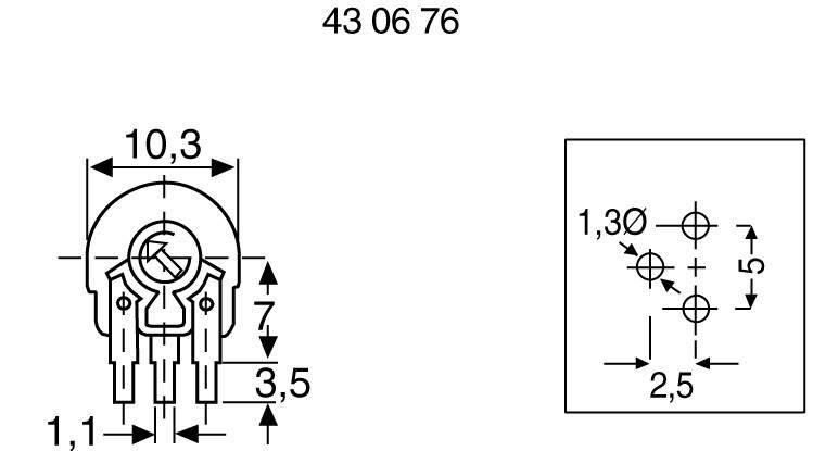 Trimer Piher PT 10 LH 10R, lineárny, 100 Ohm, 0.15 W, 1 ks