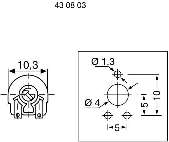 Trimer Piher PT 10 LV 250R, lineárny, 250 Ohm, 0.15 W, 1 ks