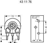Trimer Piher PT 15 LH 100K, lineárny, 100 kOhm, 0.25 W, 1 ks