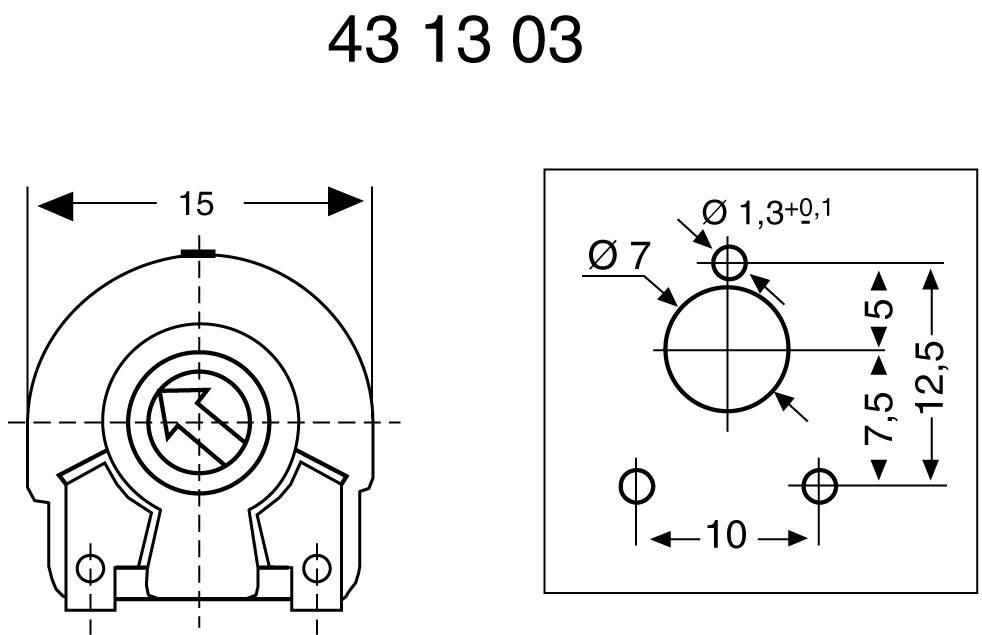 Horizontální trimr 0,25 W, 30% PT 15 LV 10K