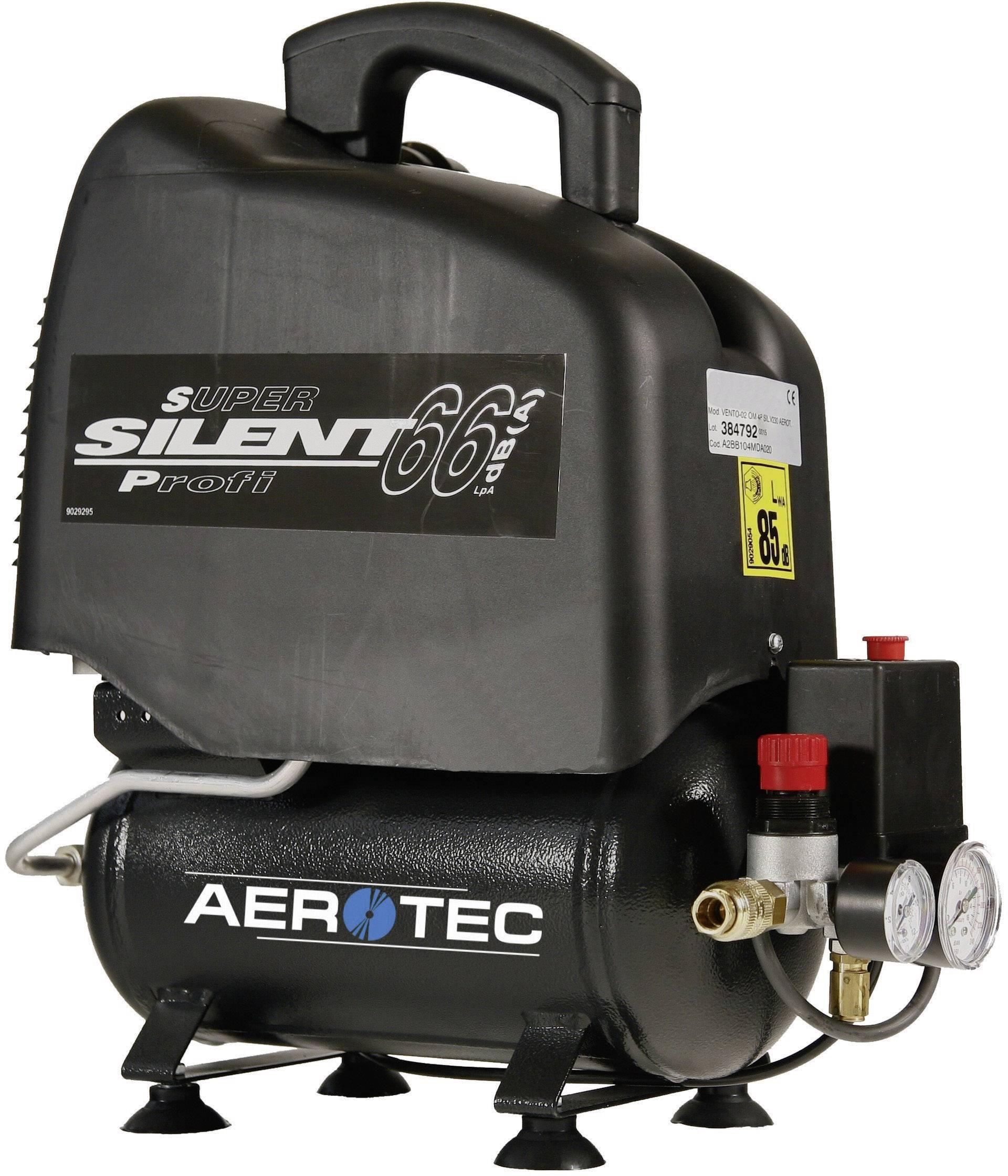 Prenosný piestový kompresor Aerotec Vento Silent 6 2005210, objem tlak. nádoby 6 l