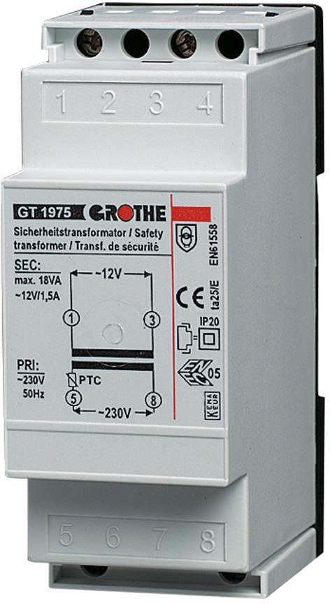 Zvonkový transformátor na lištu Grothe GT 1975, 8 V, 230-240 V/AC, 14101