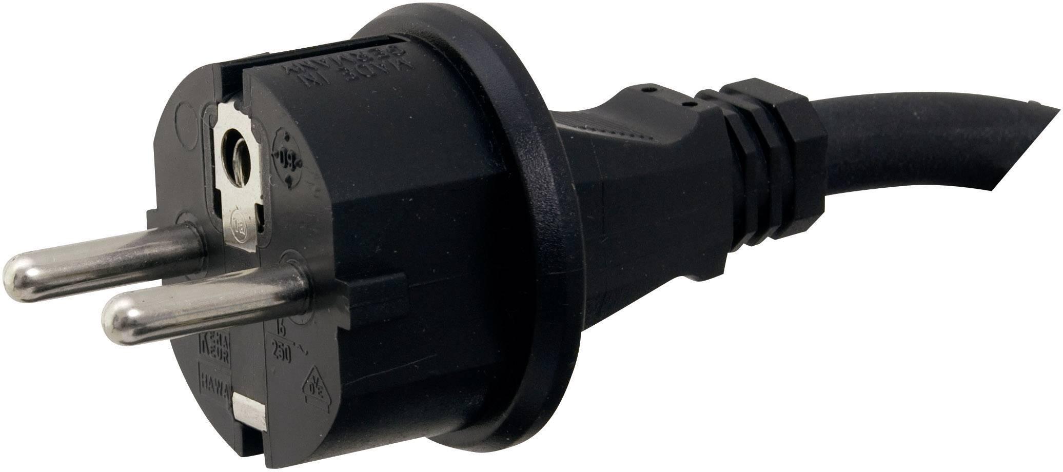 Síťový kabel Hawa, zástrčka/otevřený konec, 1,5 mm², 5 m, černá, 1008260