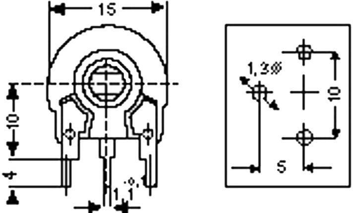 Trimer Piher PT 15 NH 1K, lineárny, 1 kOhm, 0.25 W, 1 ks
