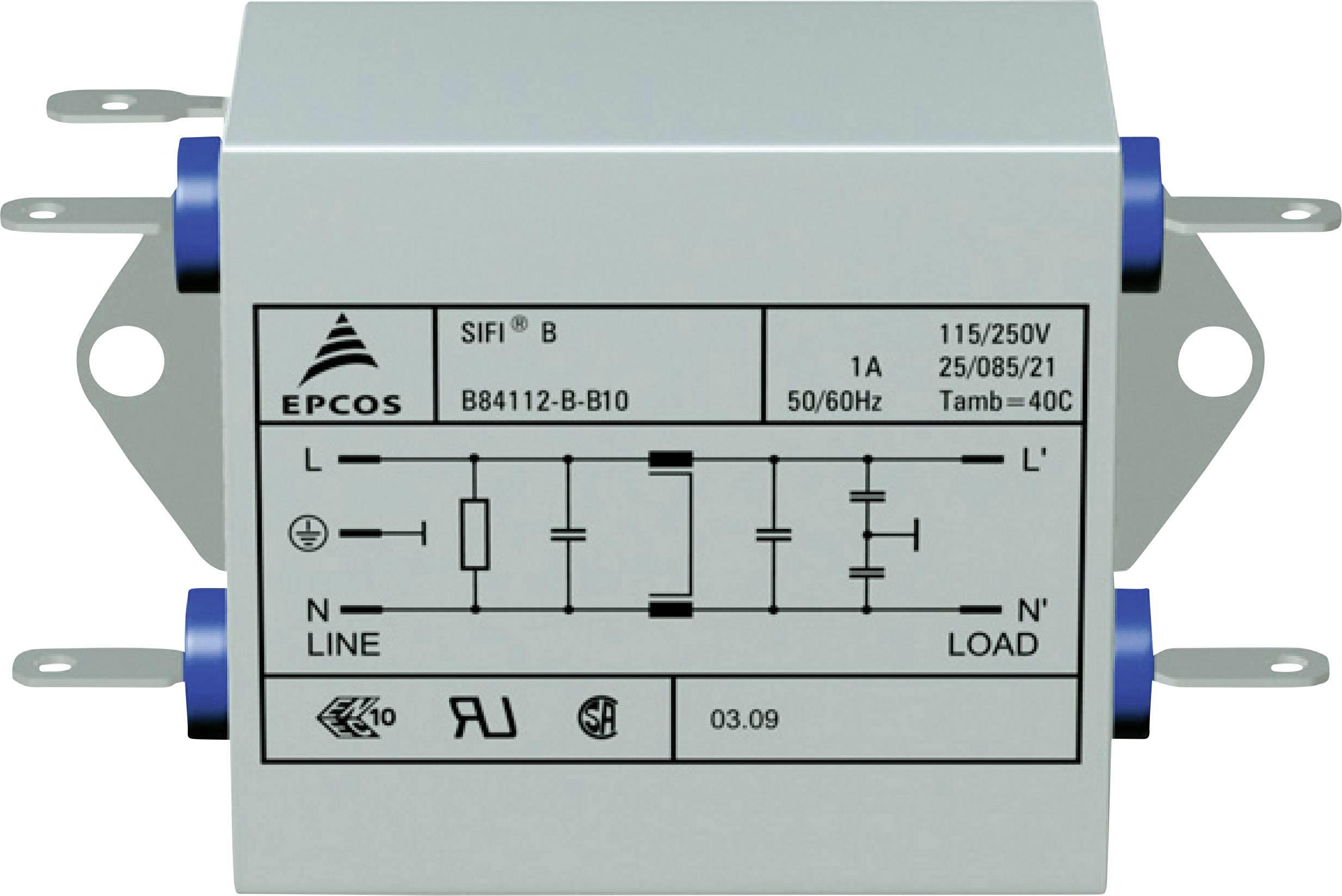 Odrušovací filter Epcos B84112B0000B060 B84112B0000B060, 250 V/AC, 6 A, 3.3 mH, (d x š x v) 105 x 84 x 38.1 mm, 1 ks