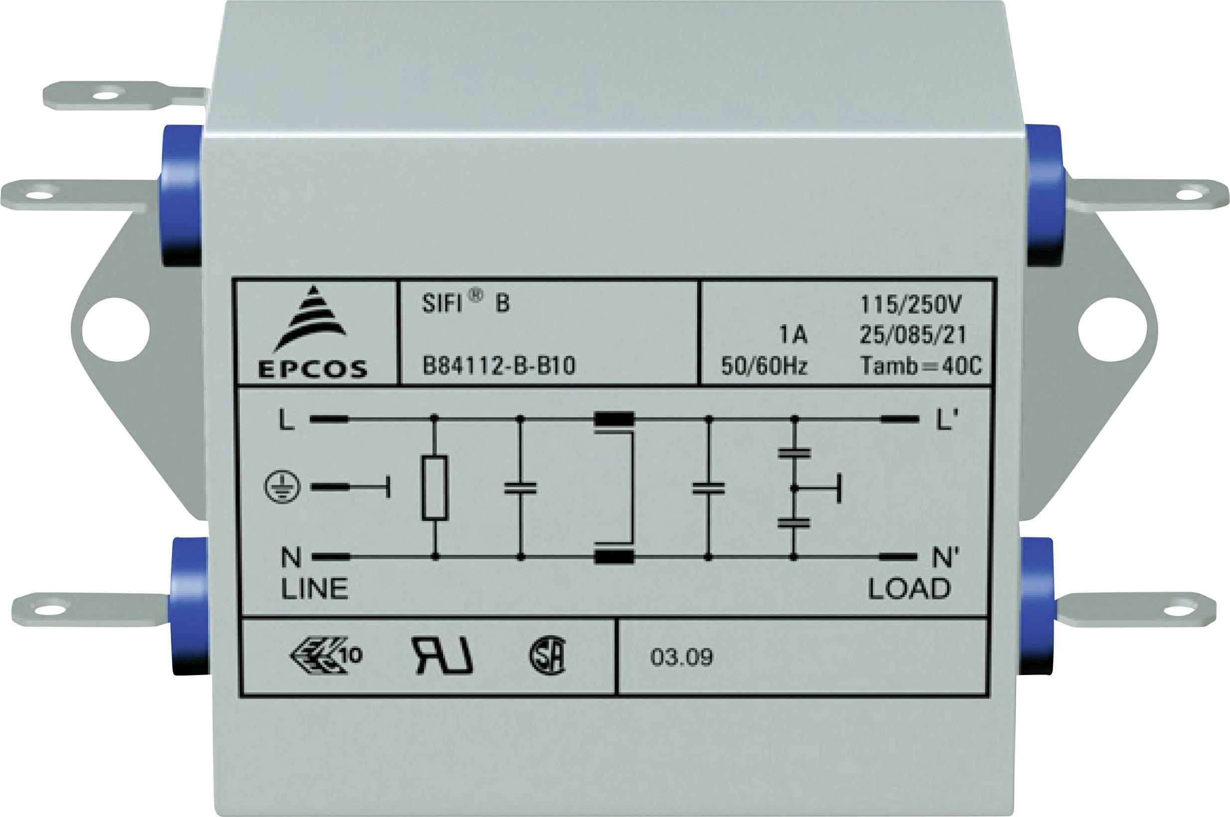 Odrušovací filter Epcos B84112B0000B110 B84112B0000B110, 250 V/AC, 10 A, 1.8 mH, (d x š x v) 105 x 84 x 38.1 mm, 1 ks