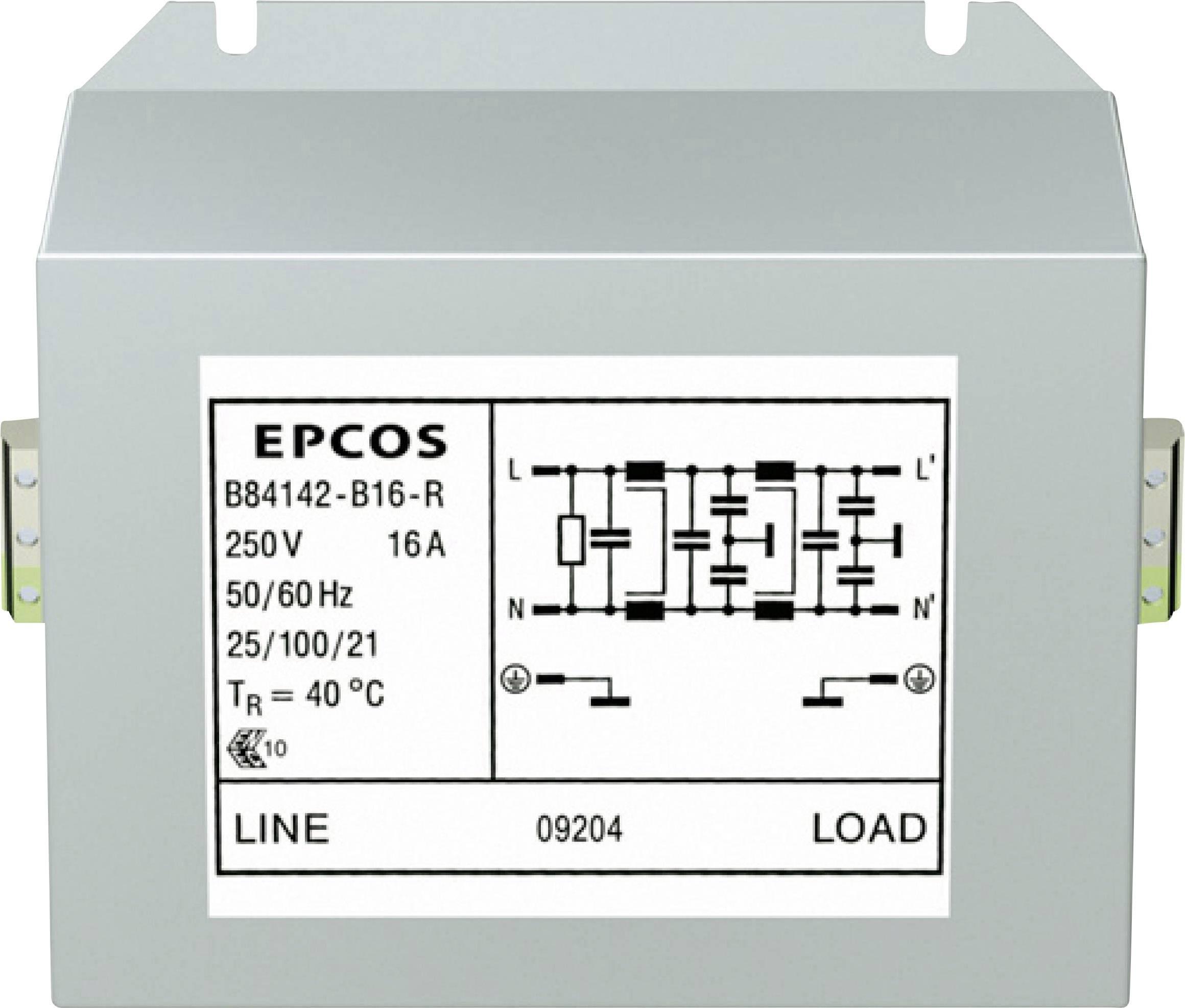 Síťový filtr Epcos, B84142B0025R000, 250 V, 2 x 25 A