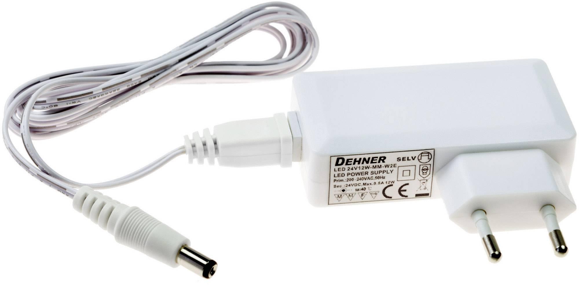 Napájací zdroj pre LED Dehner Elektronik LED 24V12W-MM-W2E, 12 W (max), 0.5 A, 24 V/DC
