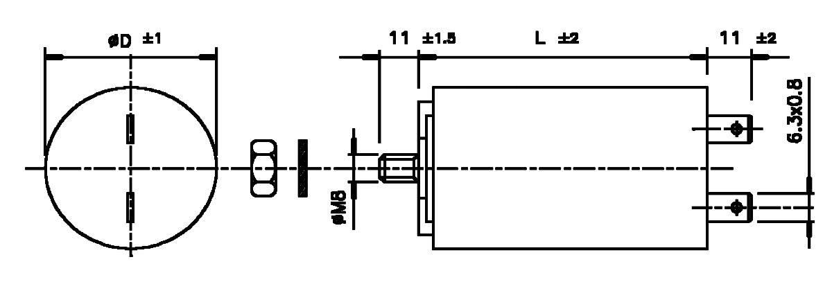Motorový MKP kondezátor WB4050/A, 5 µF, 450 V/AC, 5 %, 51 x 30 mm, plast