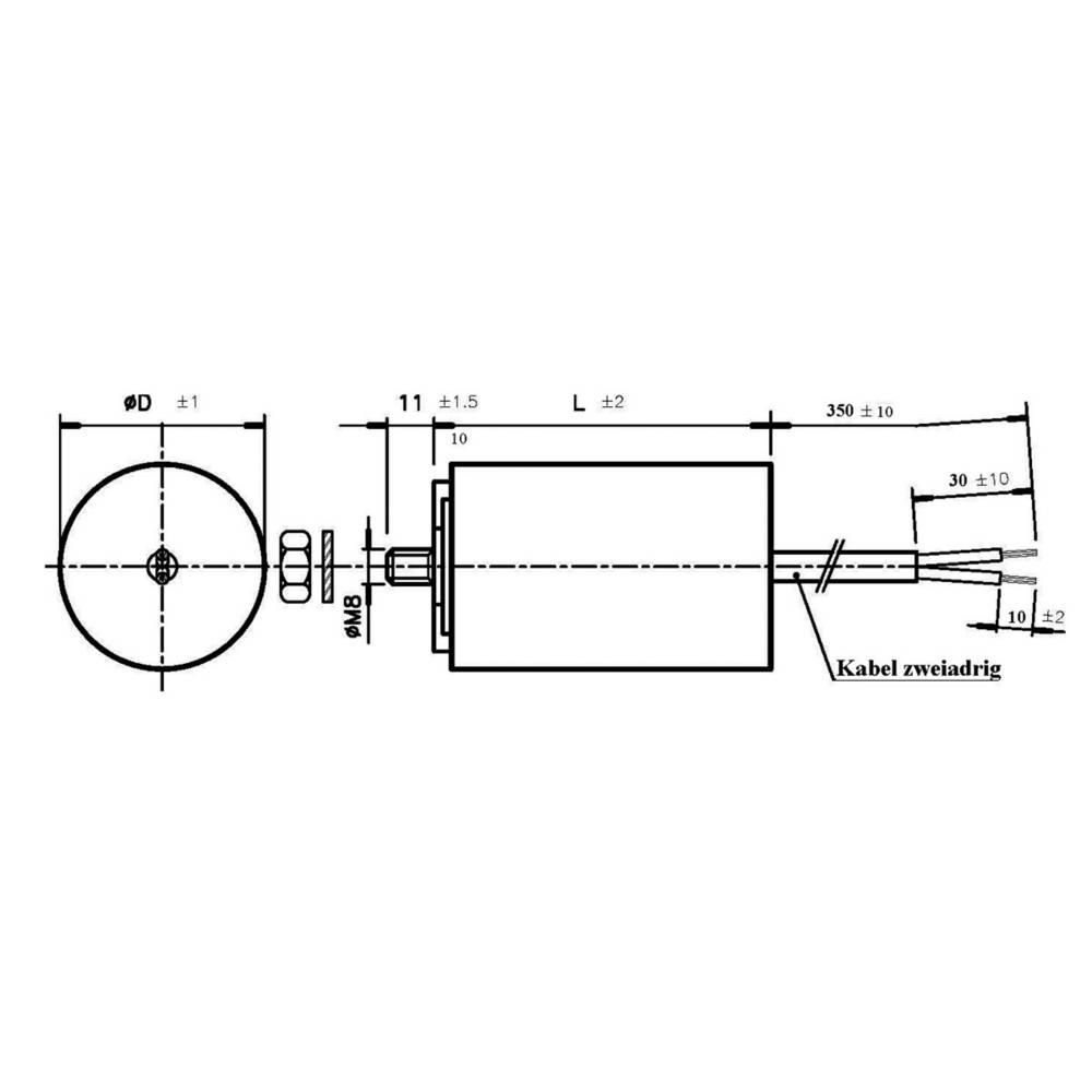 Motorový MKP kondezátor WB40400/B 350mm, 40 µF, 450 V/AC