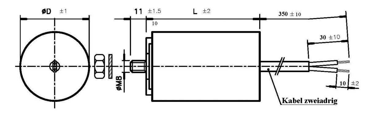 Rozbehový MKP kondezátor plast 024033086911, 60 mF, 450 V/AC, 5 %, 116 x 45 mm