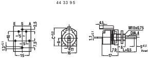 Otočný potenciometer so spínačom lineárny 443409 mono, 500 kOhm