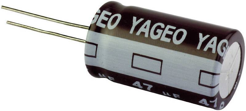 Elektrolytický kondenzátor Yageo SE400M0100B7F-1832, radiálne vývody, 100 µF, 400 V, 20 %, 1 ks