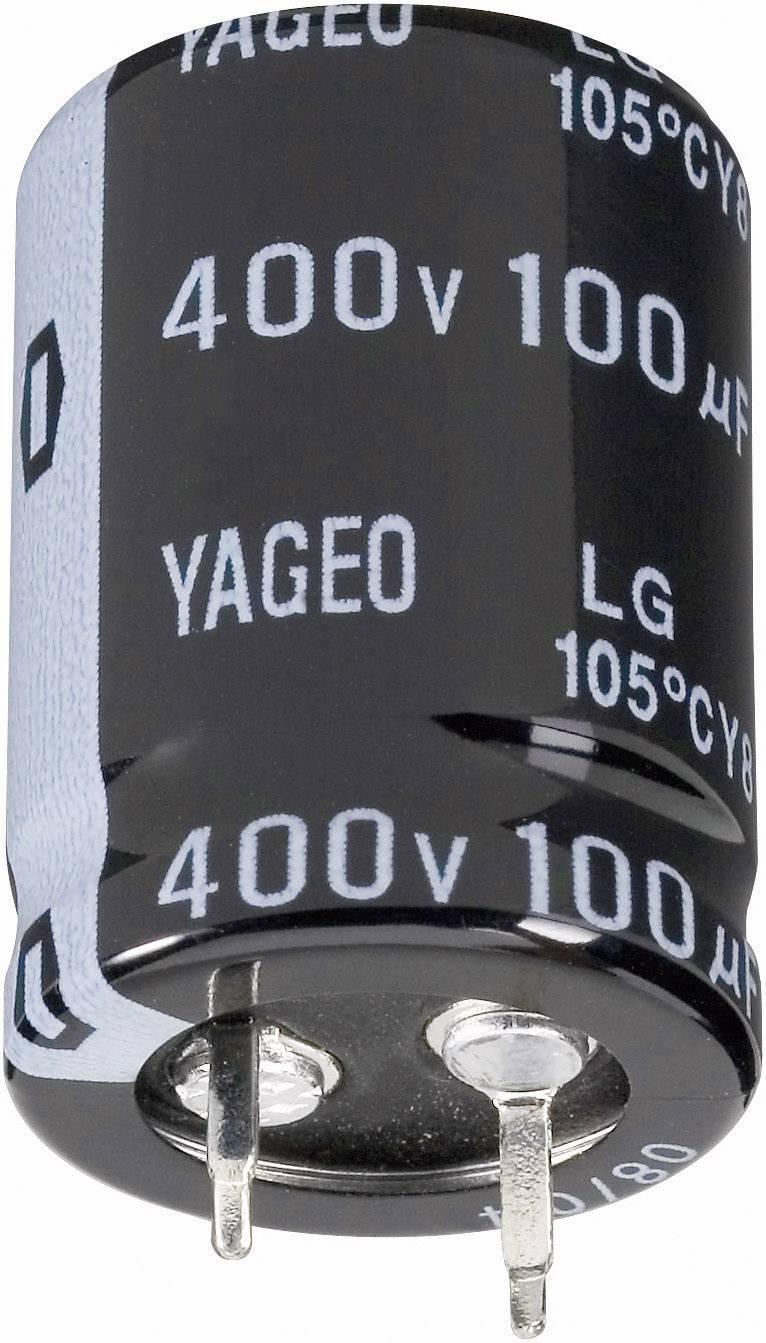 Elektrolytický kondenzátor Yageo LG450M0100BPF-2530, Snapln, 100 µF, 450 V, 20 %, 1 ks
