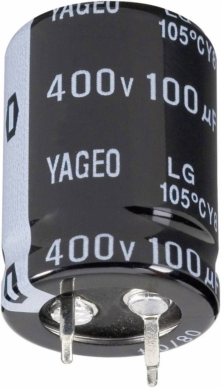 Snap In kondenzátor elektrolytický Yageo LG450M0100BPF-2240, 100 µF, 450 V, 20 %, 40 x 22 mm