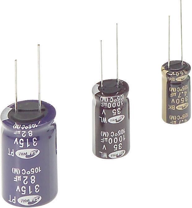 Elektrolytický kondenzátor Samwha WB1E107M6L011PC, radiálne vývody, 100 µF, 25 V, 20 %, 1 ks
