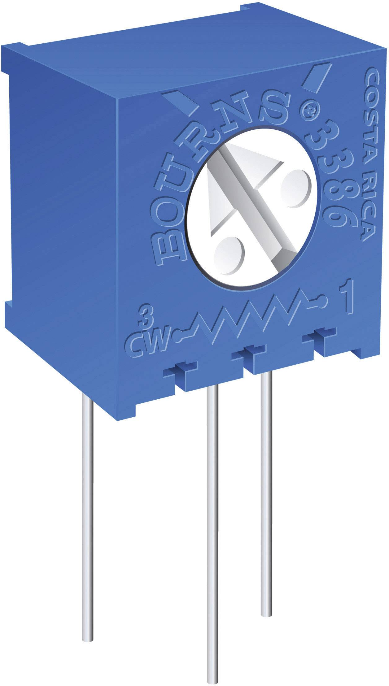 Odporový trimr Bourns, 3386X-1-202LF, 2 kΩ, 0,5 W, ± 10 %