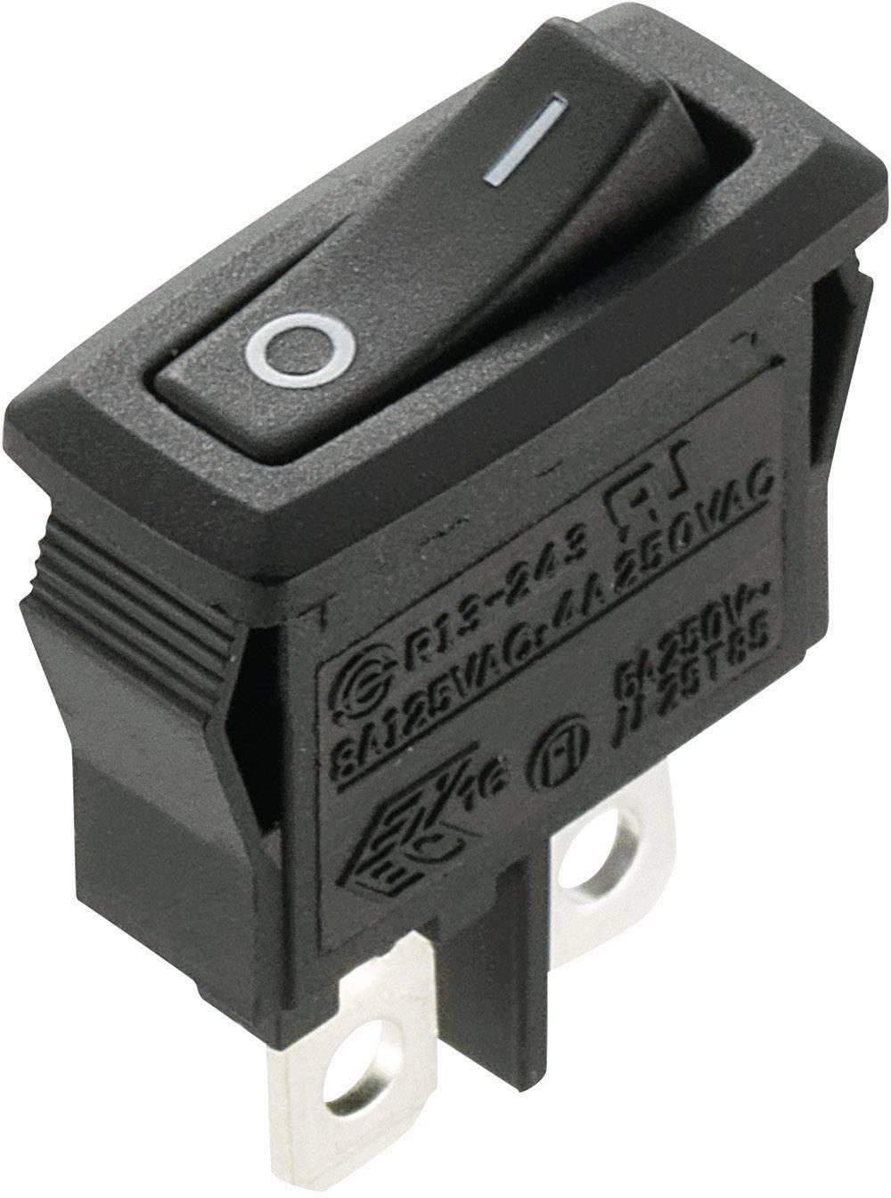 Kolískový spínač s aretáciou SCI R13-243A-02, 250 V/AC, 4 A, 1x vyp/zap, 1 ks