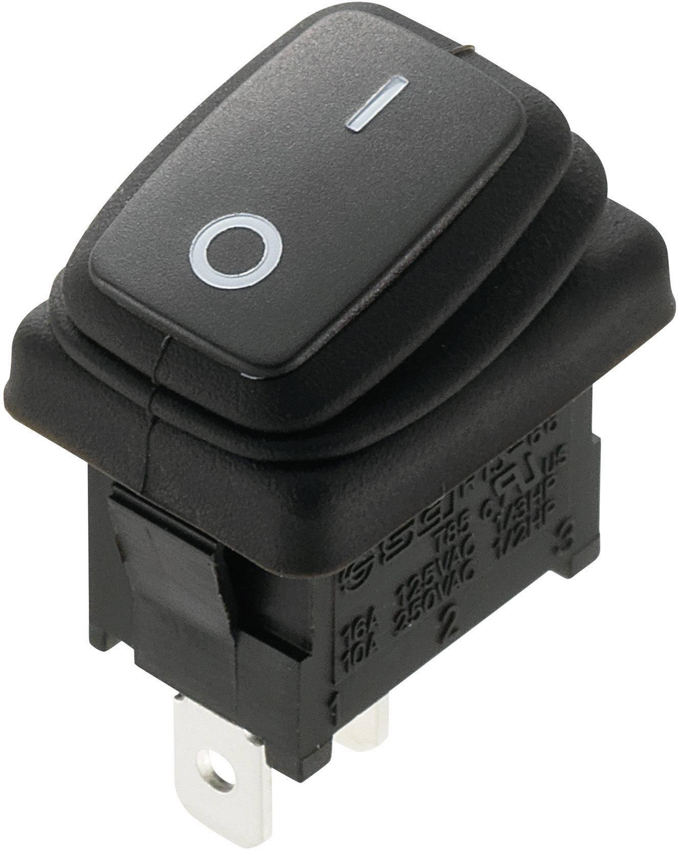 Kolískový spínač s aretáciou SCI R13-66A8-02, 250 V/AC, 10 A, 1x vyp/zap, IP65, 1 ks
