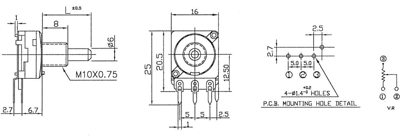 Otočný potenciometer mono Potentiometer Service 2175 2175, 0.05 W, 1 kOhm, 1 ks