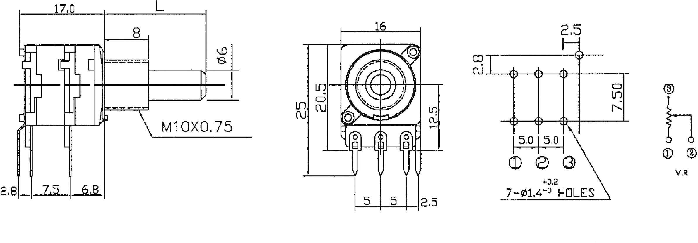 Otočný potenciometer stereo Potentiometer Service GmbH 4178 4178, 0.05 W, 10 kOhm, 1 ks