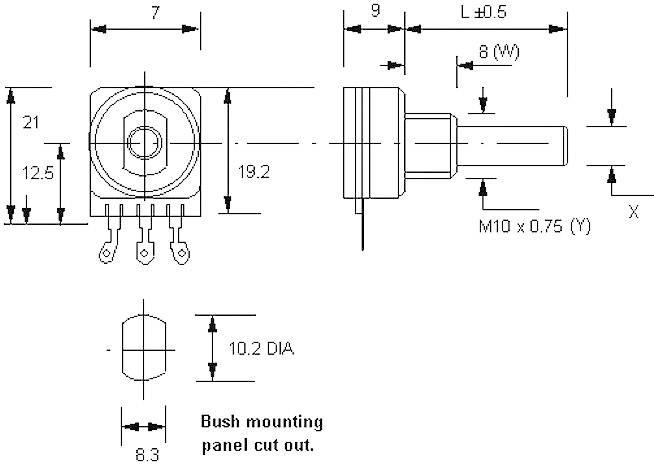 Otočný potenciometer mono Potentiometer Service 7253 7253, 0.12 W, 500 kOhm, 1 ks