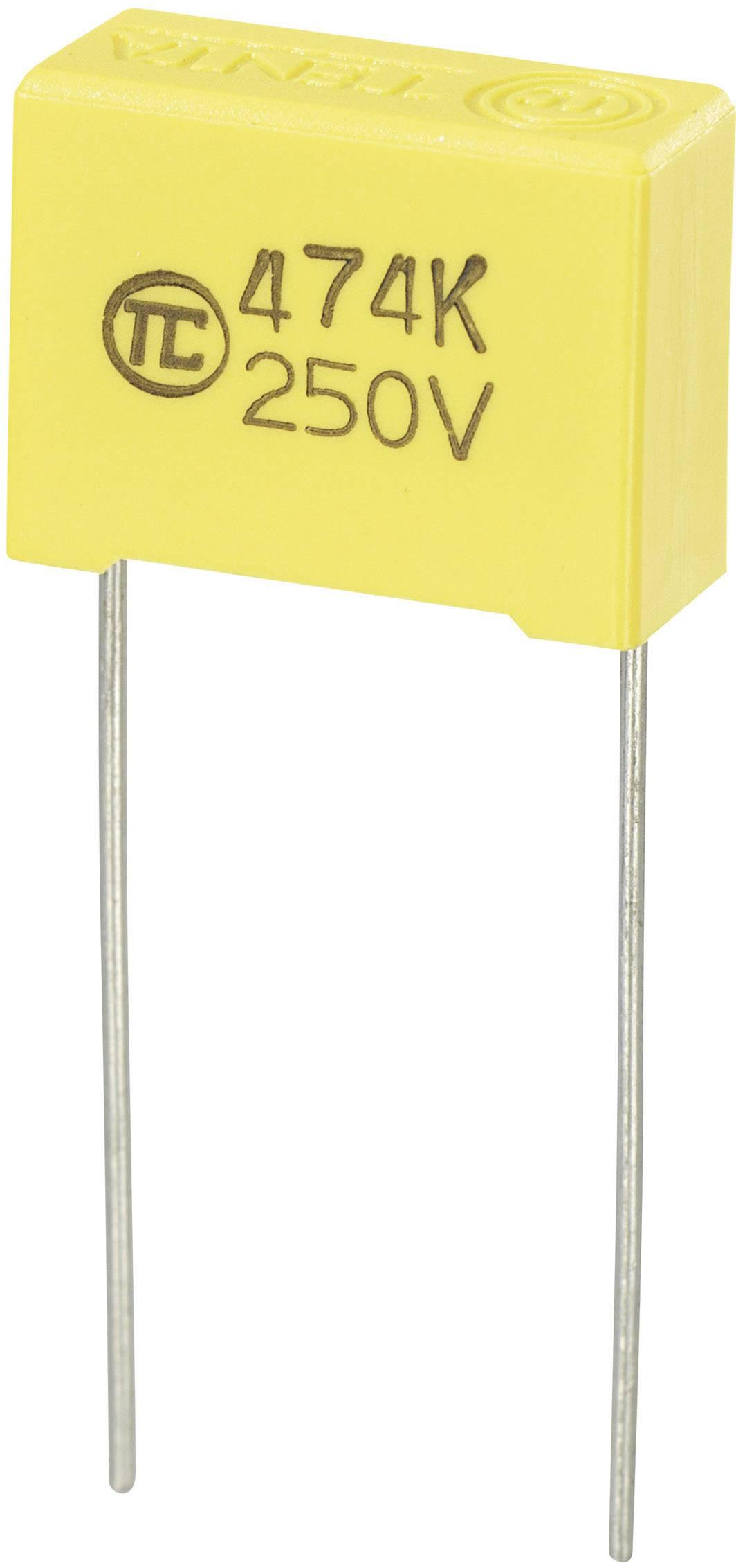 Fóliový kondenzátor MKS radiálne vývody, 0.47 µF, 250 V/DC,5 %, 15 mm, (d x š x v) 18 x 7.5 x 13.5 mm, 1 ks