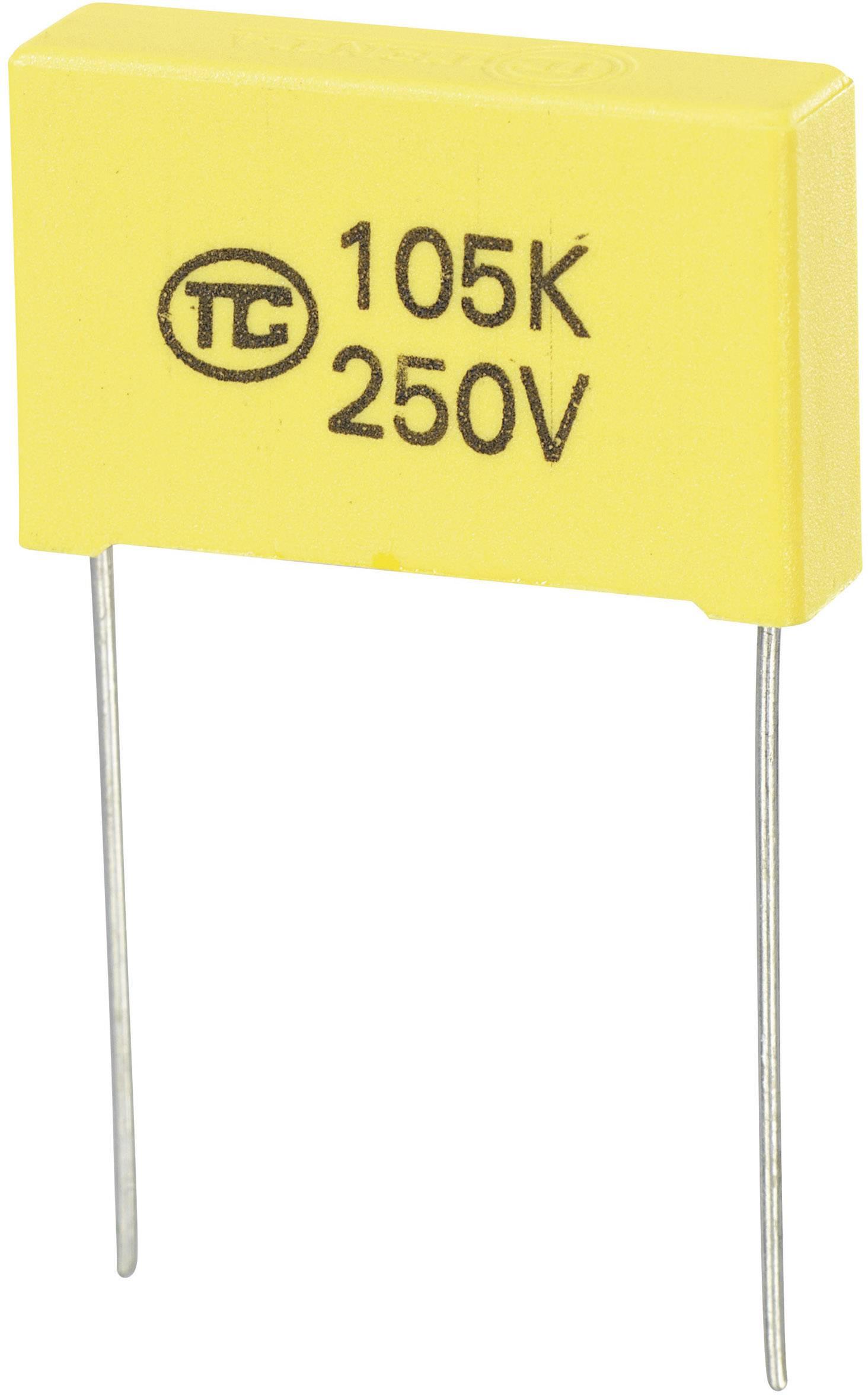 Fóliový kondenzátor MKS radiálne vývody, 1 µF, 250 V/DC,5 %, 22.5 mm, (d x š x v) 26.5 x 6 x 15 mm, 1 ks