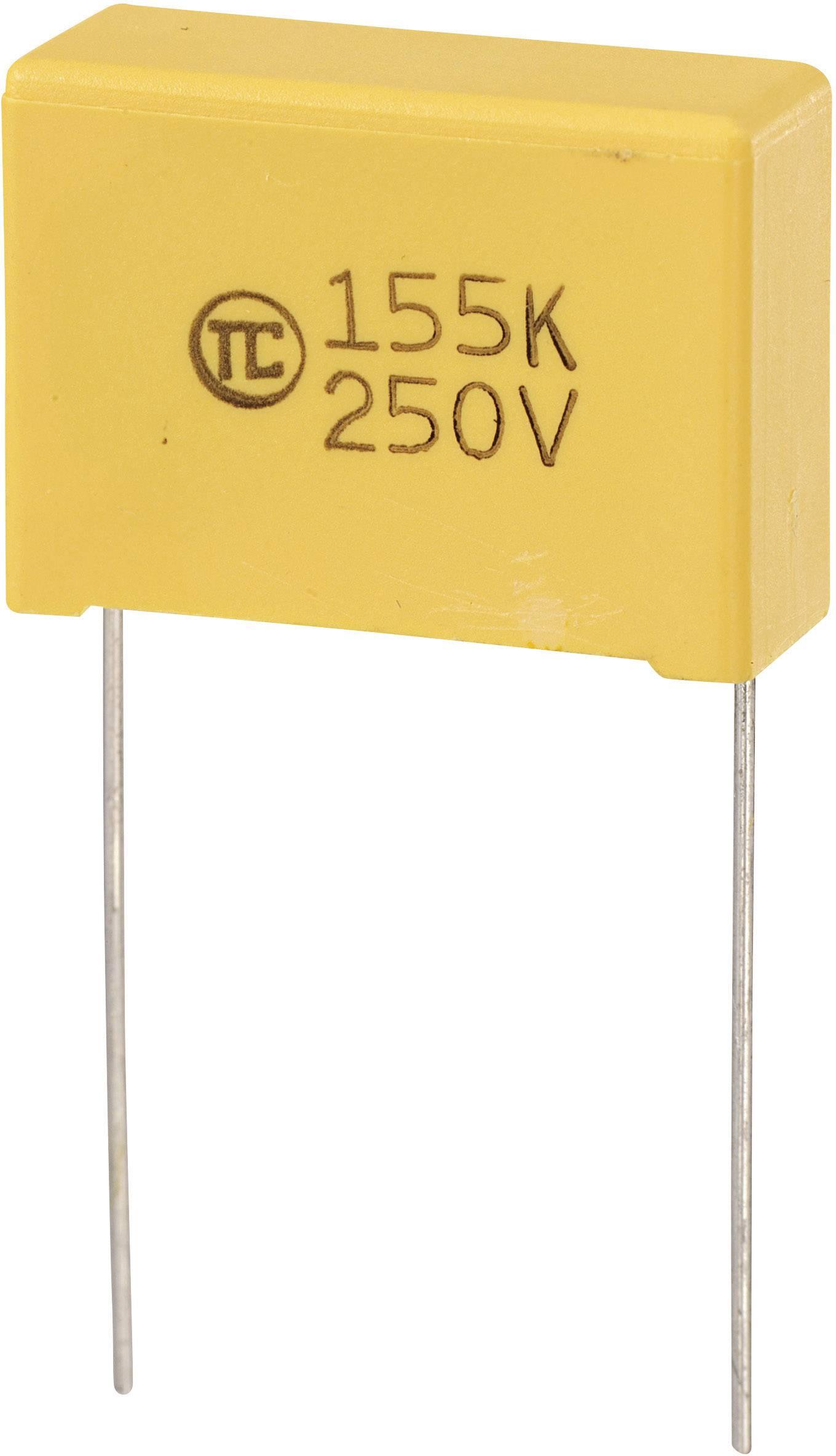 Fóliový kondenzátor MKS radiálne vývody, 1.5 µF, 250 V/DC,5 %, 22.5 mm, (d x š x v) 26.5 x 10 x 19 mm, 1 ks