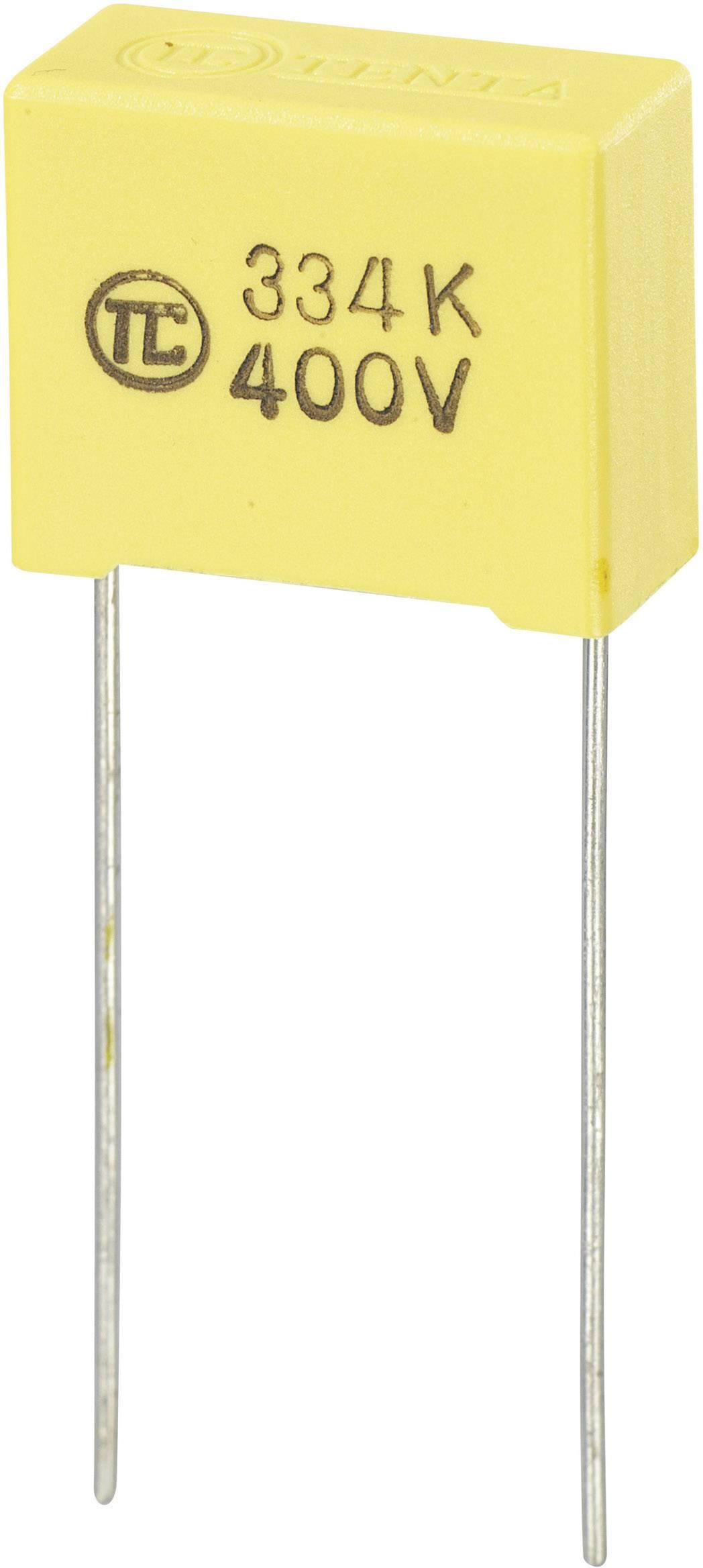 Foliový kondenzátor MKS, 0,33 µF, 400 V, 5 %, 18 x 8,5 x 14,5 mm