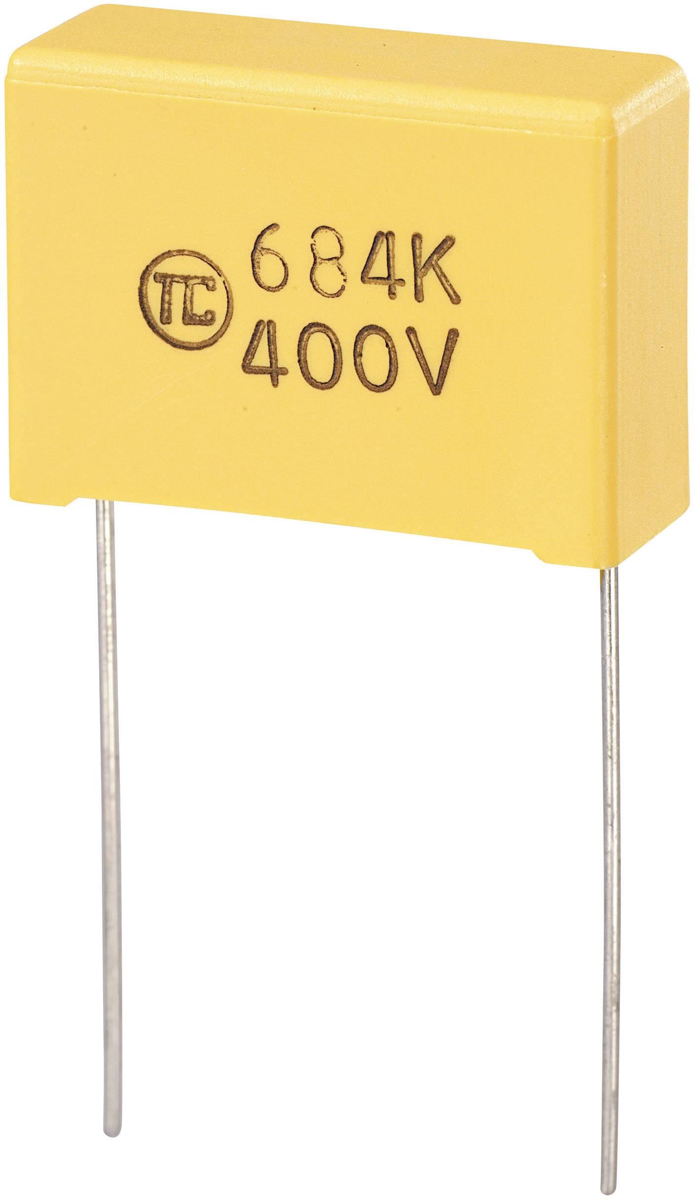 Fóliový kondenzátor MKS radiálne vývody, 0.47 µF, 400 V/DC,5 %, 22.5 mm, (d x š x v) 26.5 x 8.5 x 17 mm, 1 ks