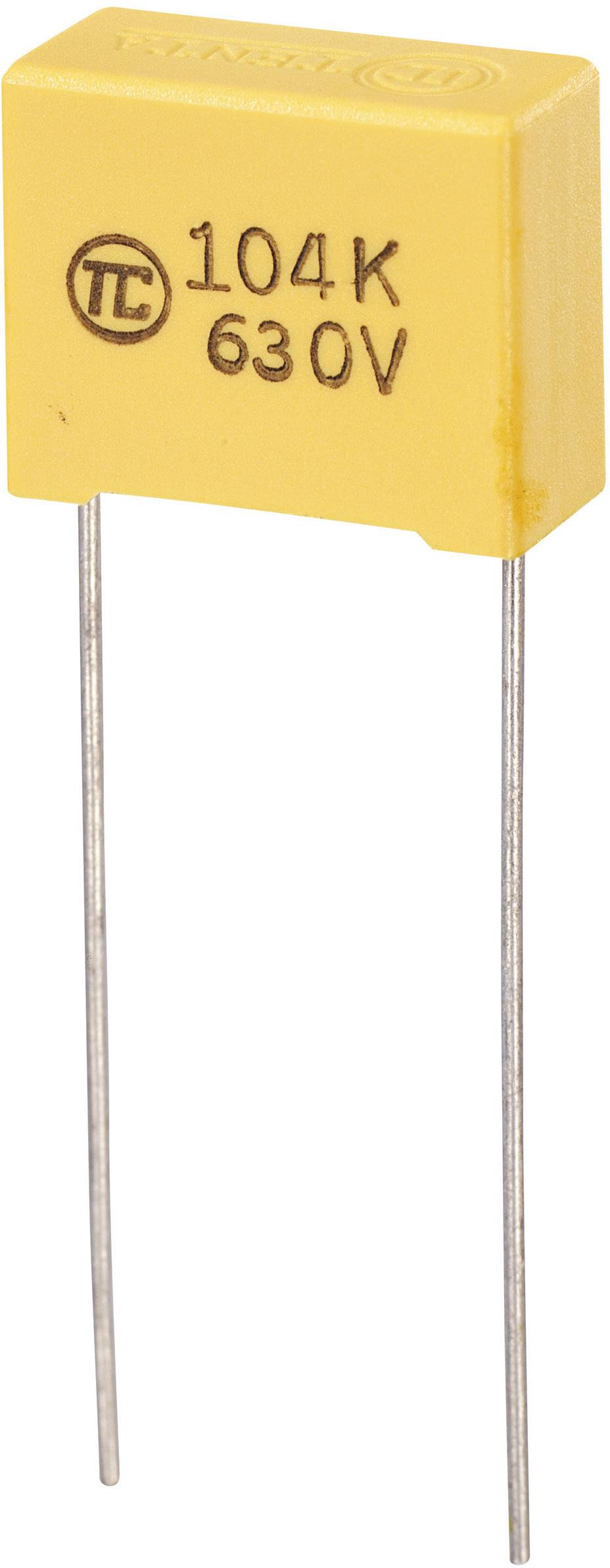 Fóliový kondenzátor MKS radiálne vývody, 0.1 µF, 630 V/DC,5 %, 15 mm, (d x š x v) 18 x 8.5 x 14.5 mm, 1 ks