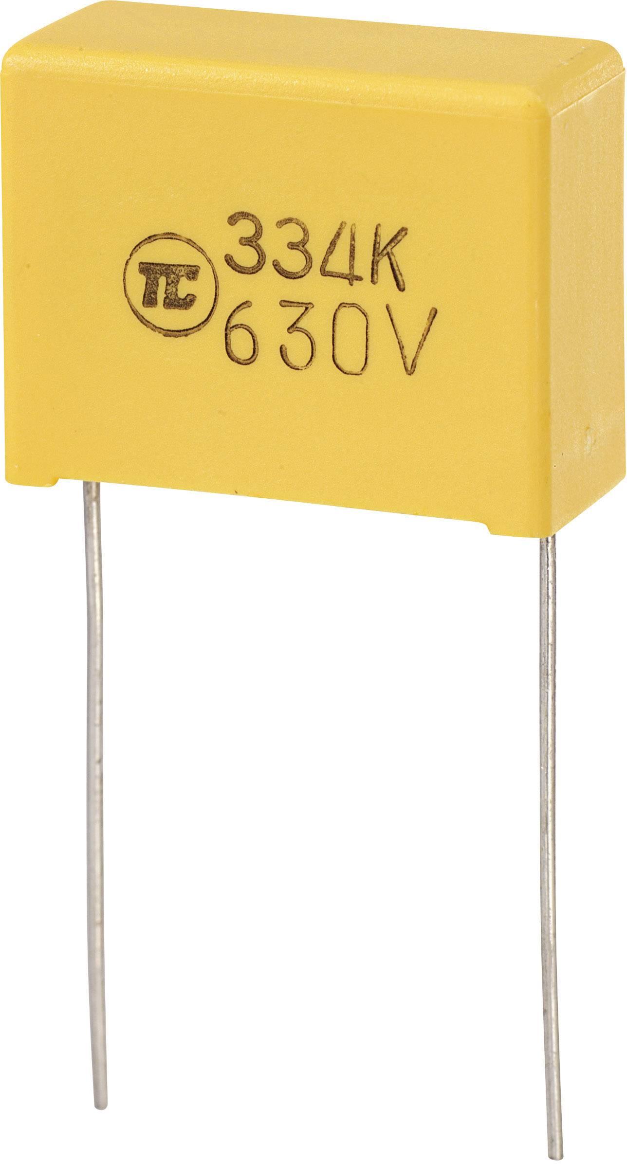 Fóliový kondenzátor MKS radiálne vývody, 0.33 µF, 630 V/DC,5 %, 22.5 mm, (d x š x v) 26.5 x 10 x 19 mm, 1 ks