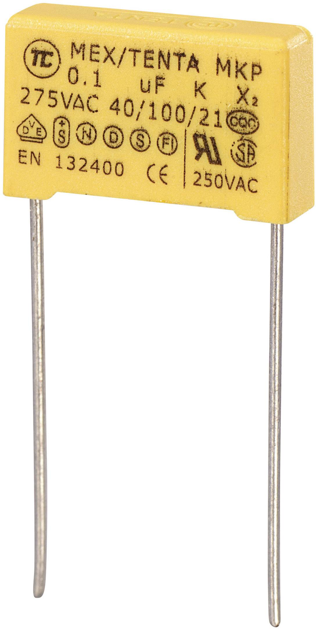 Odrušovací kondenzátor MKP-X2 MKP-X2 radiálne vývody, 0.1 µF, 275 V/AC,10 %, 15 mm, (d x š x v) 18 x 5 x 11 mm, 1 ks