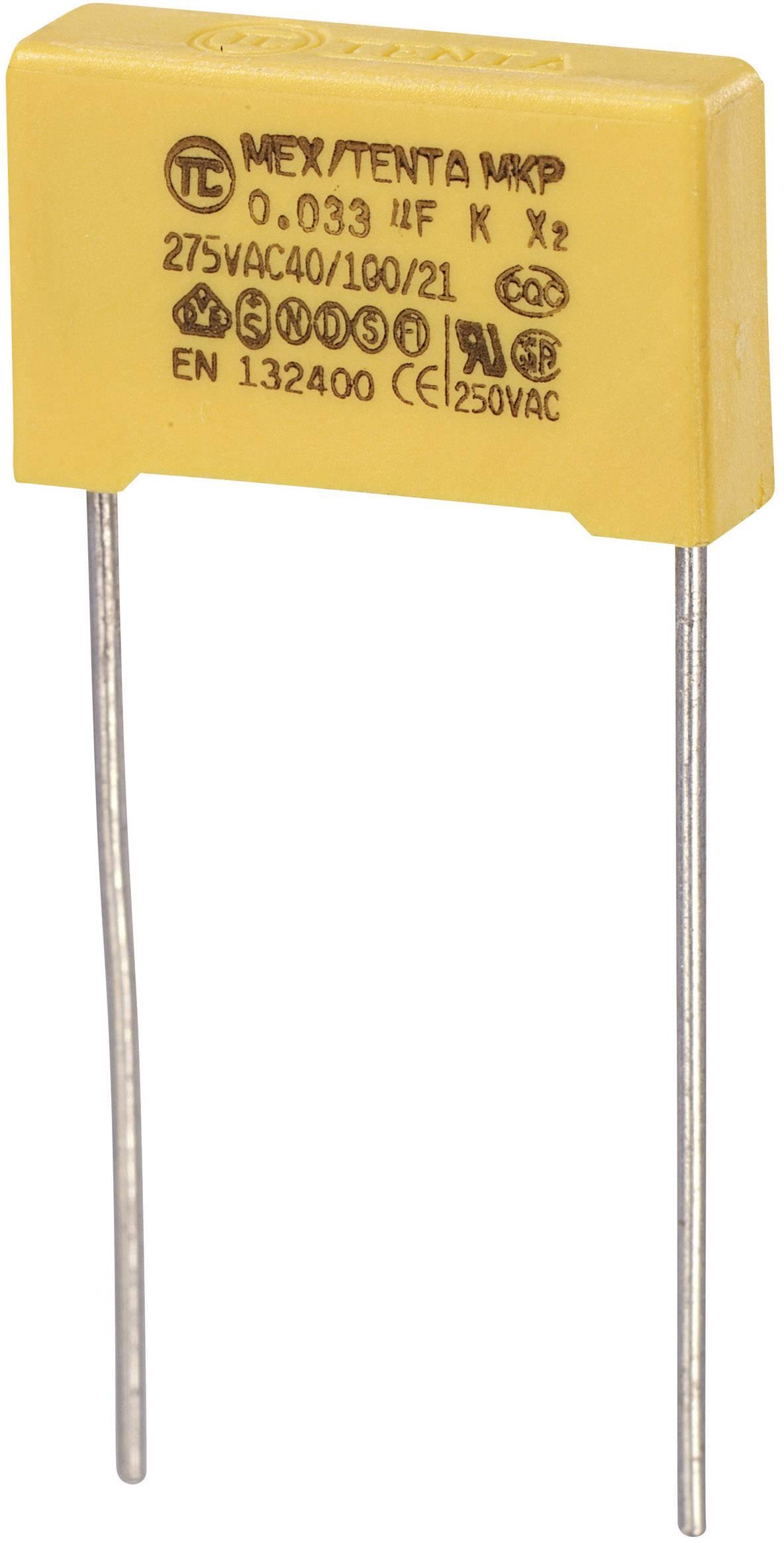 Foliový kondenzátor MKP, 0,033 µF, X2 275 V/AC, 10 %, 18 x 5 x 11 mm