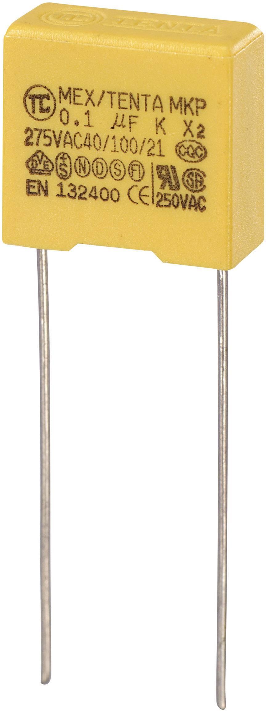 Foliový kondenzátor MKP, 0,1 µF, X2 275 V/AC, 10 %, 13 x 6 x 12 mm