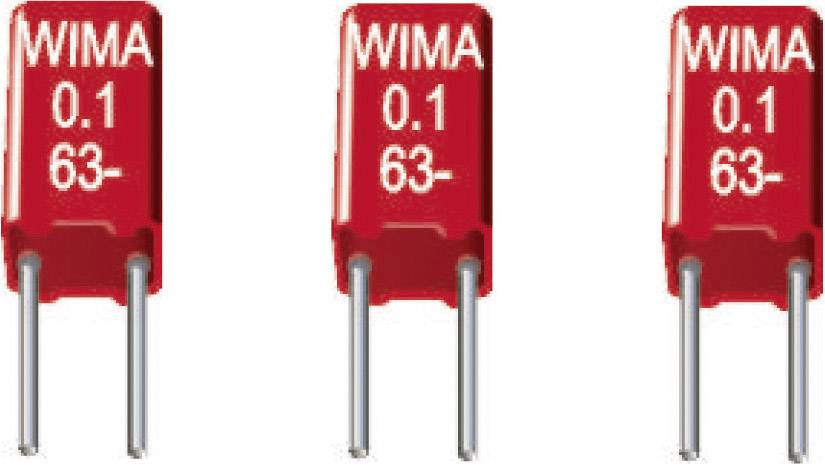 Fóliový kondenzátor MKS Wima MKS0C022200B00KSSD radiálne vývody, 0.022 µF, 63 V/DC,20 %, 2.5 mm, (d x š x v) 4.6 x 2.5 x 7 mm, 1 ks