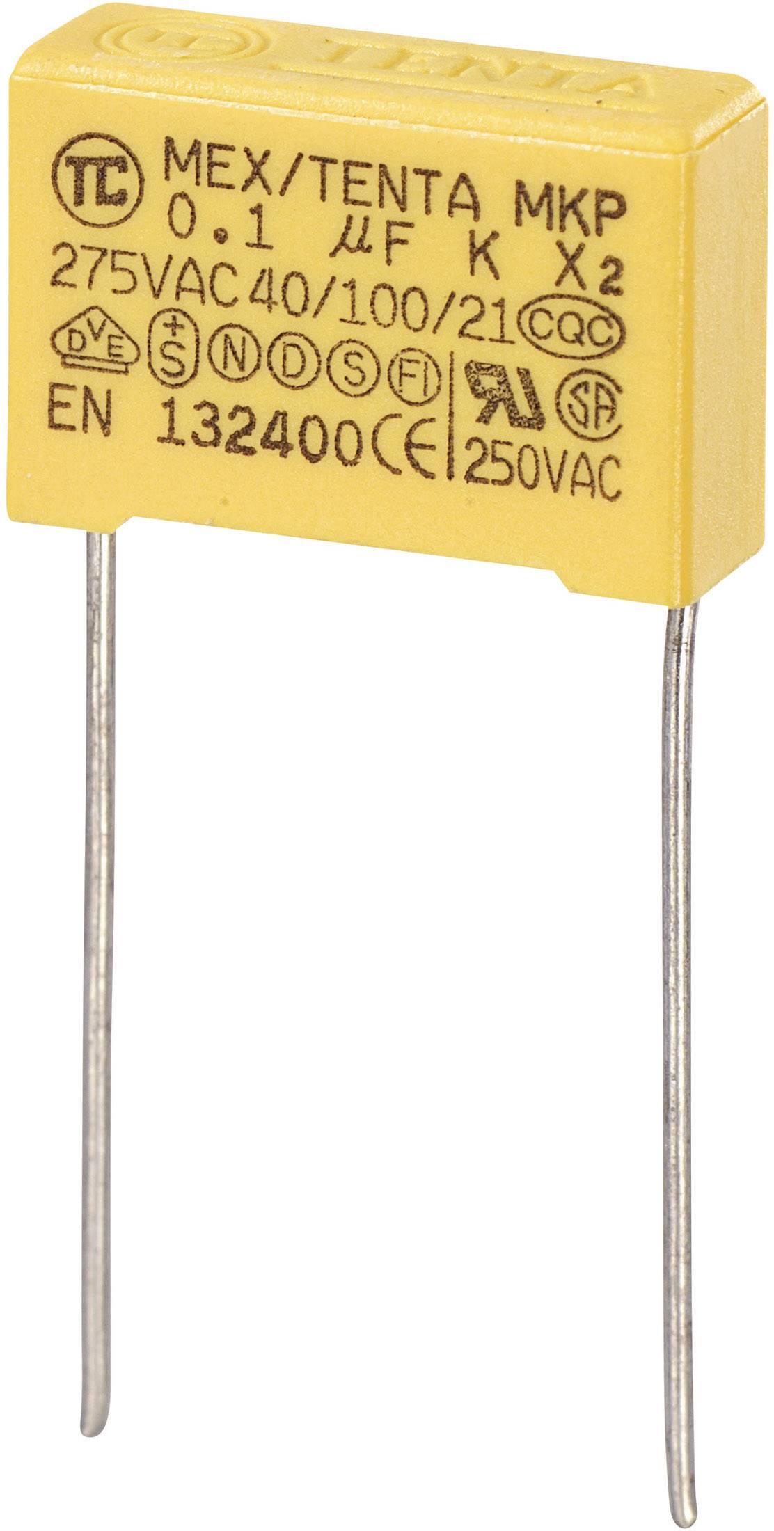 Foliový kondenzátor MKP, 0,1 µF, X2 275 V/AC, 10 %, 18 x 6 x 12 mm