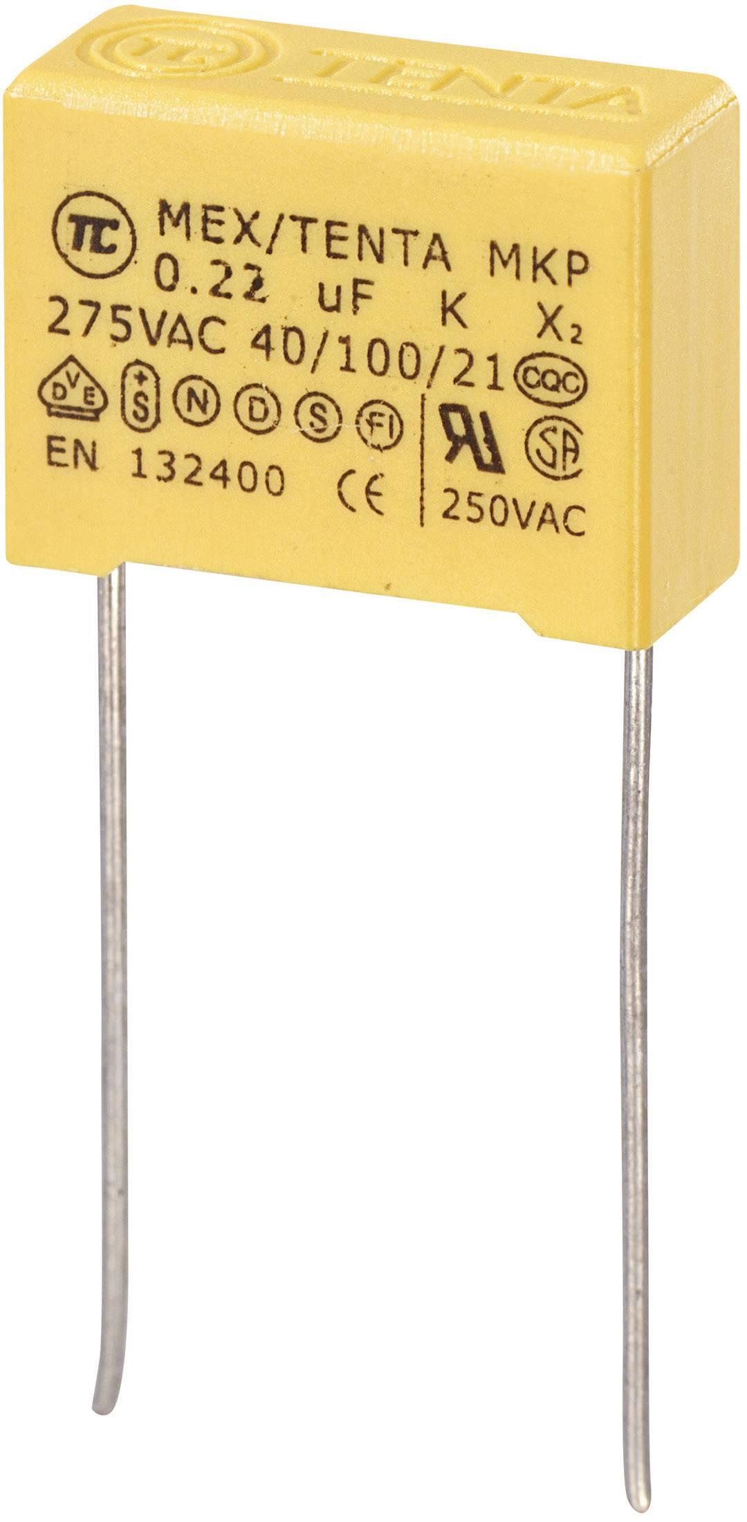 Odrušovací kondenzátor MKP-X2 MKP-X2 radiálne vývody, 0.22 µF, 275 V/AC,10 %, 15 mm, (d x š x v) 18 x 7.5 x 13.5 mm, 1 ks