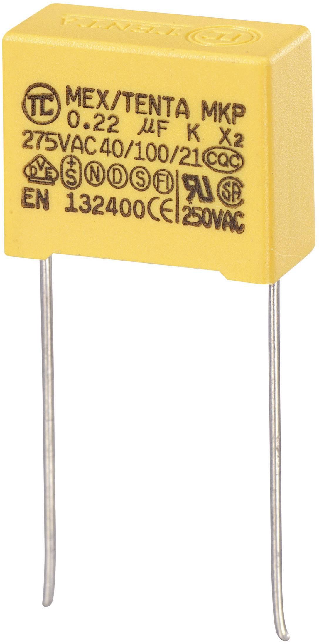 Foliový kondenzátor MKP, 0,22 µF, X2 275 V/AC, 10 %, 18 x 8,5 x 14,5 mm