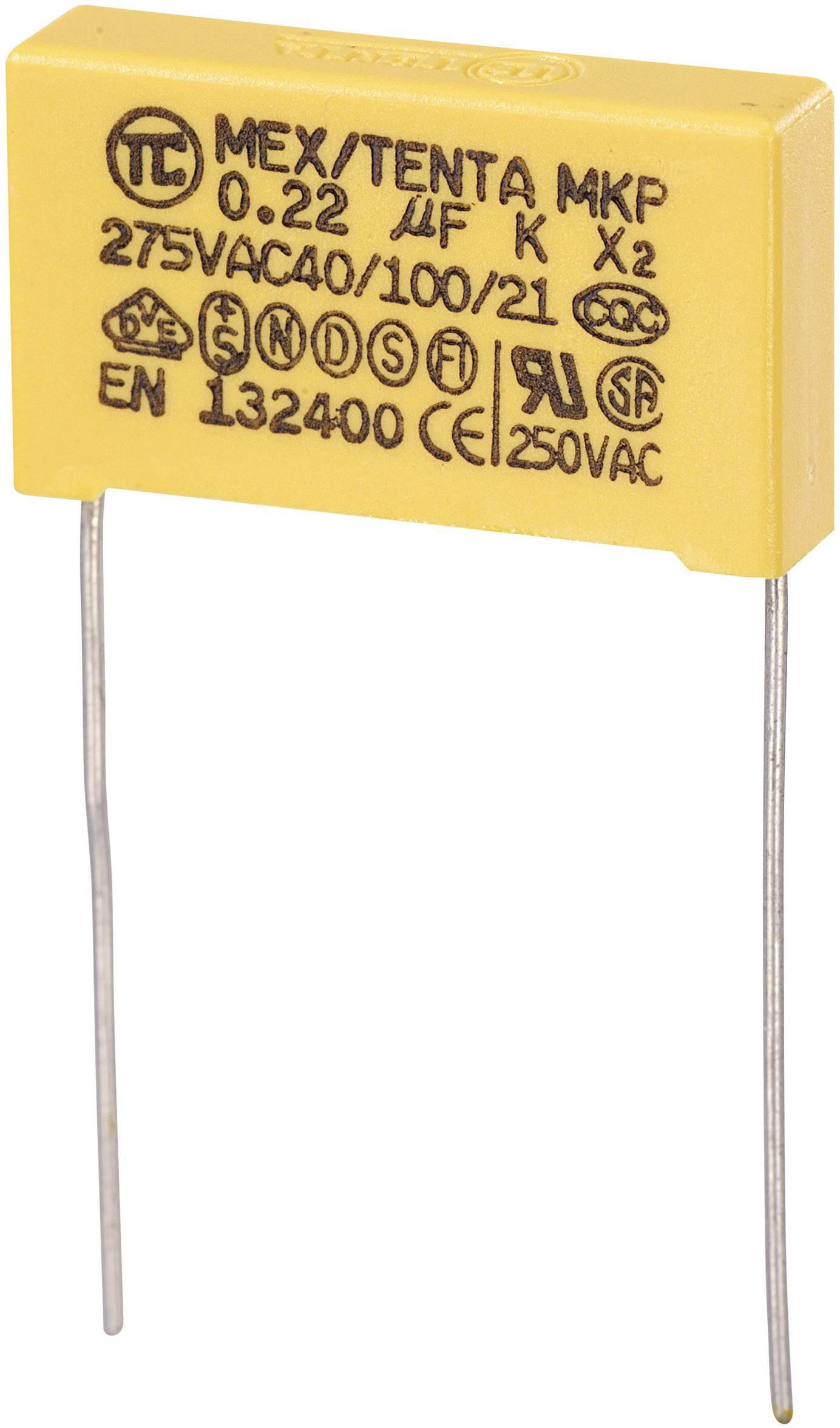 Odrušovací kondenzátor MKP-X2 MKP-X2 radiálne vývody, 0.22 µF, 275 V/AC,10 %, 22.5 mm, (d x š x v) 26.5 x 7 x 17 mm, 1 ks