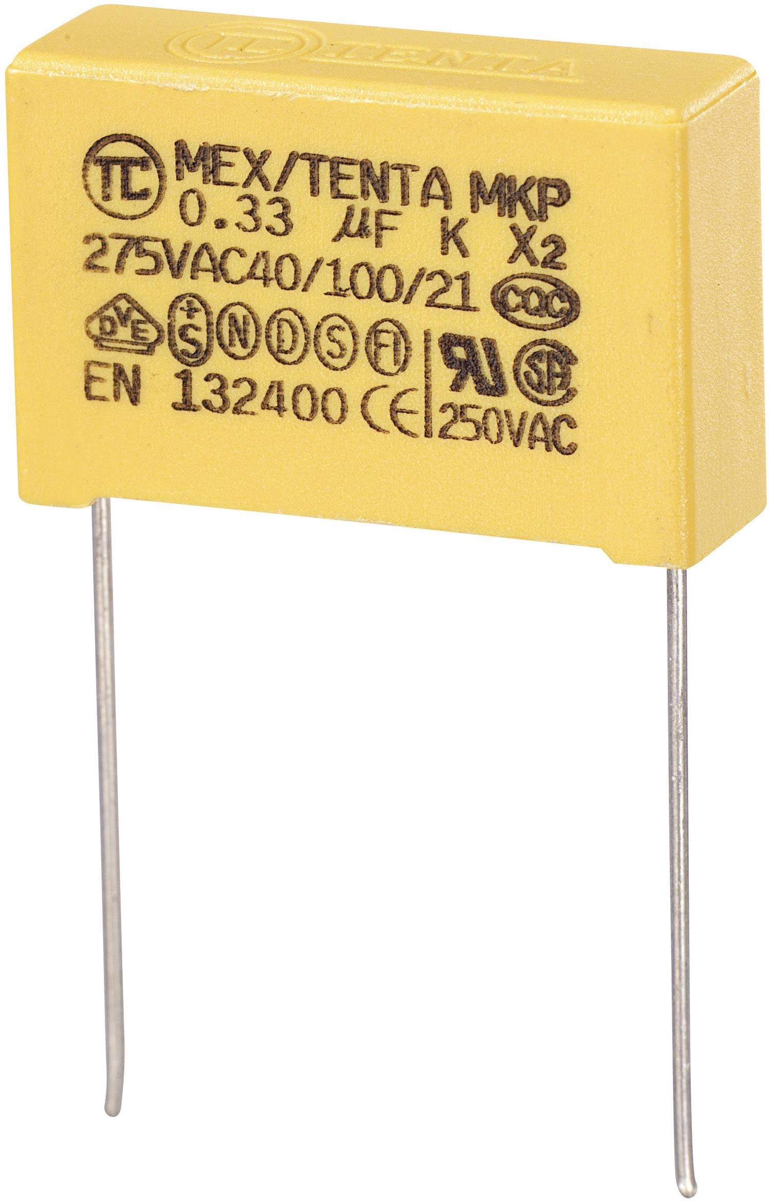 Odrušovací kondenzátor MKP-X2 MKP-X2 radiálne vývody, 0.33 µF, 275 V/AC,10 %, 22.5 mm, (d x š x v) 26.5 x 8.5 x 17 mm, 1 ks