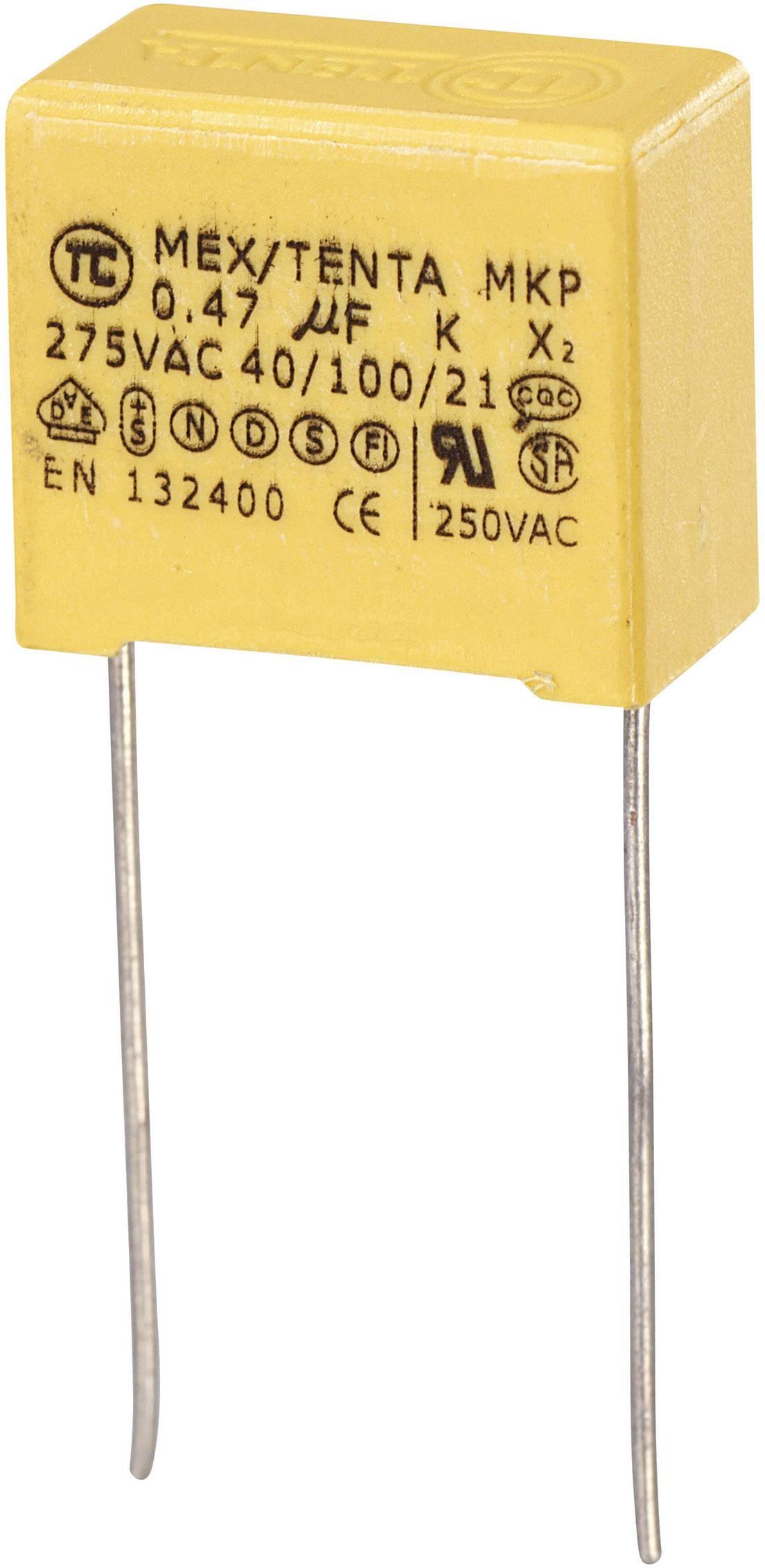 Odrušovací kondenzátor MKP-X2 MKP-X2 radiálne vývody, 0.47 µF, 275 V/AC,10 %, 15 mm, (d x š x v) 19 x 11 x 18 mm, 1 ks