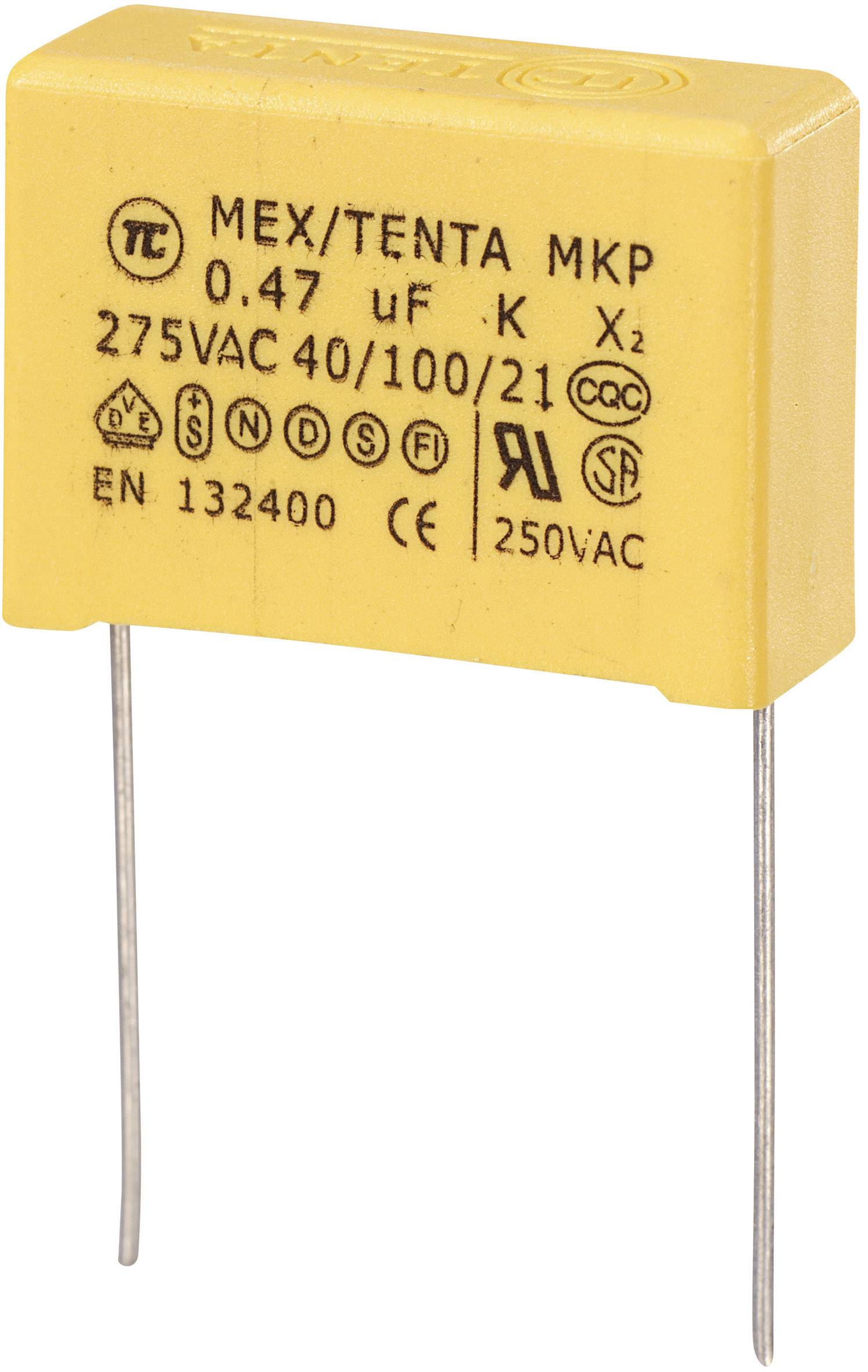 Foliový kondenzátor MKP, 0,47 µF, X2 275 V/AC, 10 %, 26,5 x 10 x 19 mm