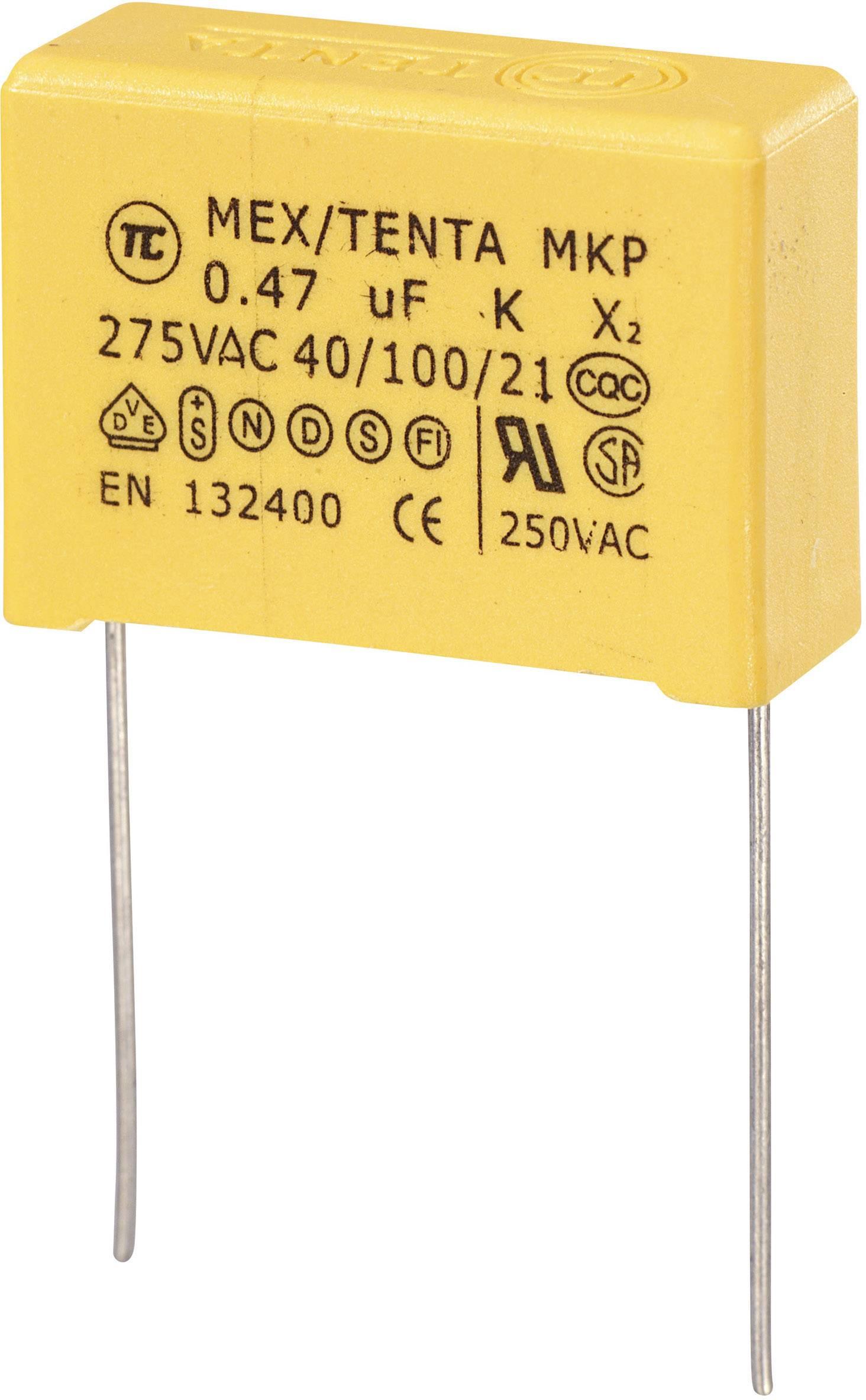 Foliový kondenzátor MKP, 0,47 µF, X2 275 V/AC, 10 %, 26,5 x 8,5 x 17 mm